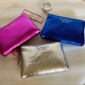 Victoria's Secret 3 card case blue pink silver